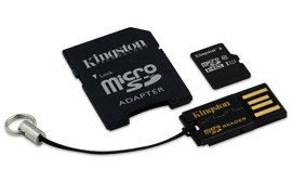 Karta pamięci microSDHC 16GB Class10 + adapter + czytnik USB Kingston