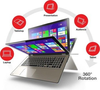 "Laptop Toshiba P55W-C5200X i5-5200U/15.6"" FHD TouchScreen/8GB/750GB/BLK/x360/Win 10"
