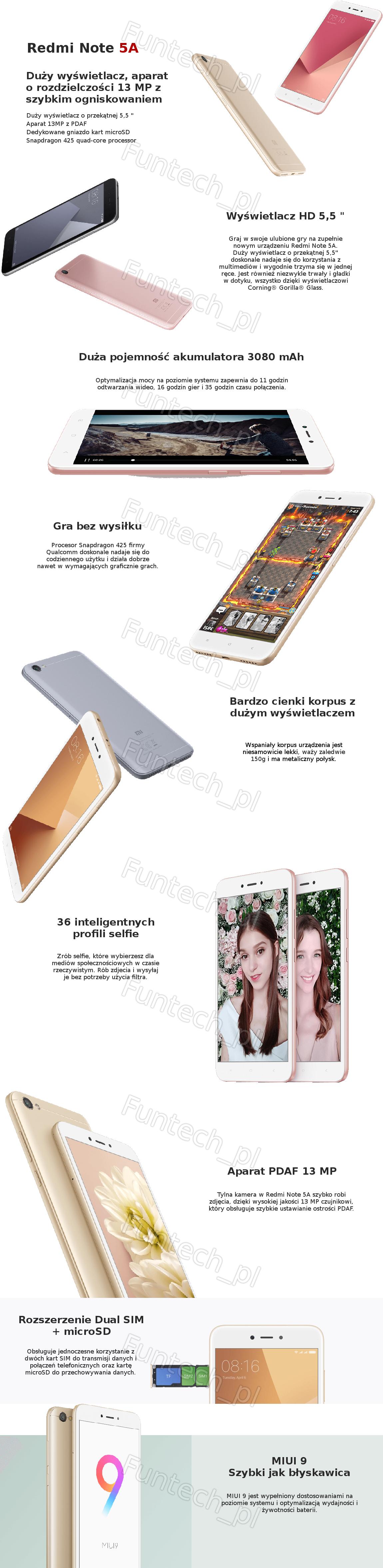 Podaj dane kontaktowe a my damy Ci znać kiedy towar będzie dostępny Smartphone Xiaomi Redmi Note 5A