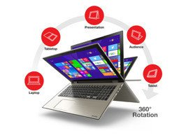 Laptop Toshiba P55W-C5200 I5-5200U/15.6 FHD TouchScreen/8GB/SSD 500GB/BLK/x360/Win 8.1