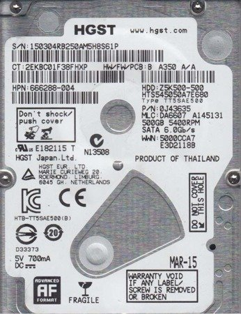 HDD HGST Travelstar Z5K500 0J43635 2.5'' 500GB SATA3 5400RPM 8MB